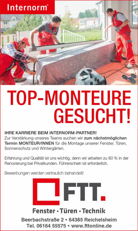 FTT - Internorm Stellenanzeige Monteur/in